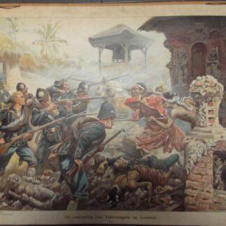 De verovering van Tjakranegaraop Lombok. (KNIL)1894 (verkocht)